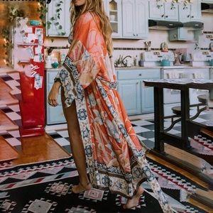 Gypsy Bohemian Kimono Duster In Orange Pelican
